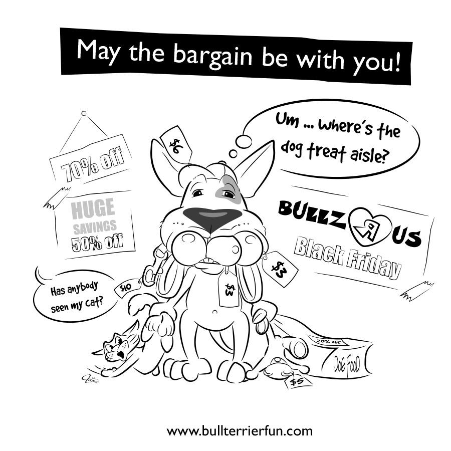 Bull Terrier Cartoon for Black Friday