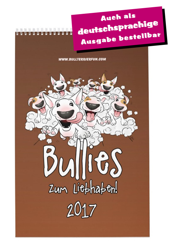 Bullterrier Cartoon-Kalender 2017