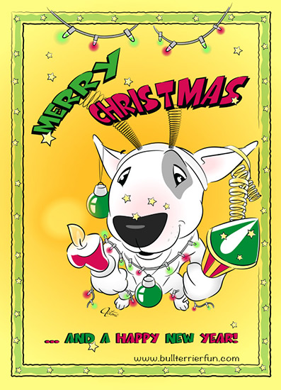 Bull Terrier Christmas Greeting Card