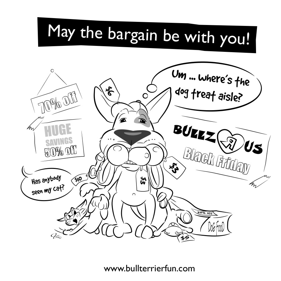 Bull Terrier Cartoon for Black Friday