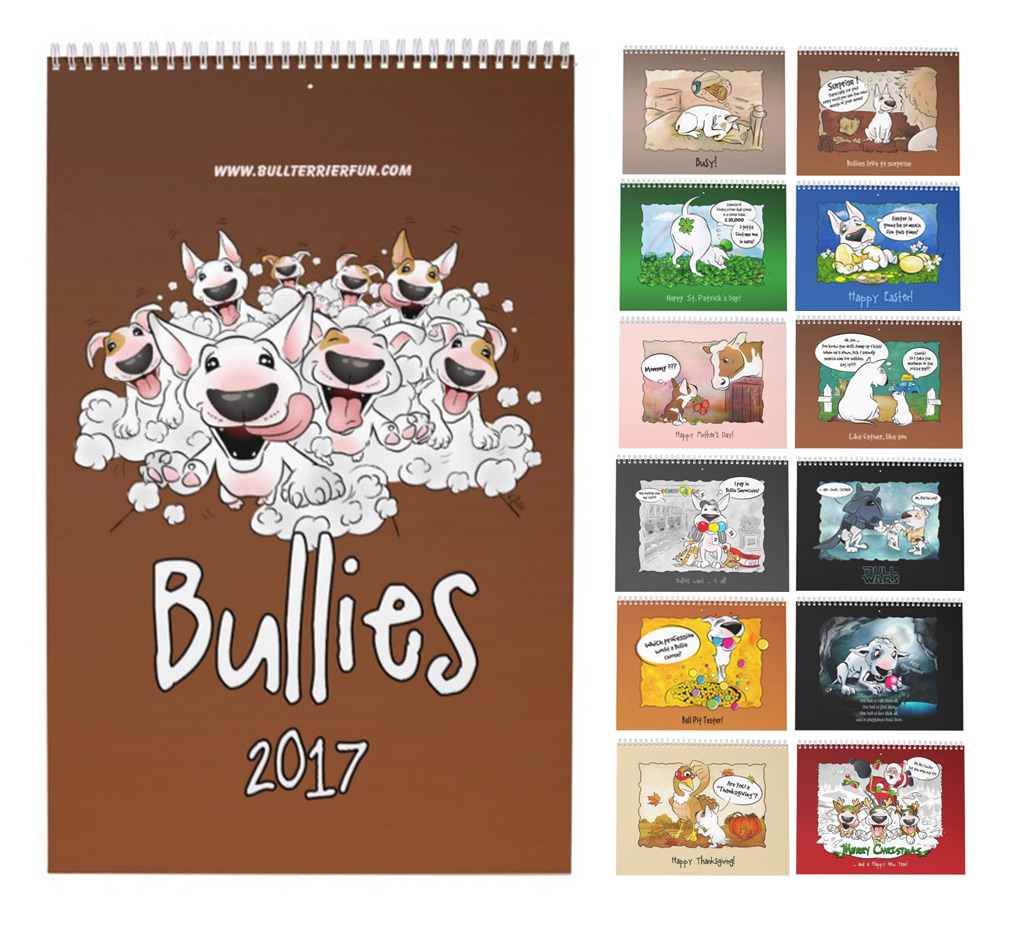 Bull Terrier Cartoon Calendar 2017